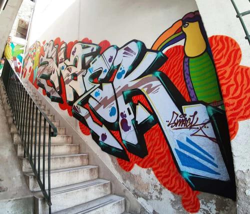 Murals by Melinda Šefčić seen at Hrvatsko narodno kazalište u Šibeniku, Šibenik - Graffiti Teatro