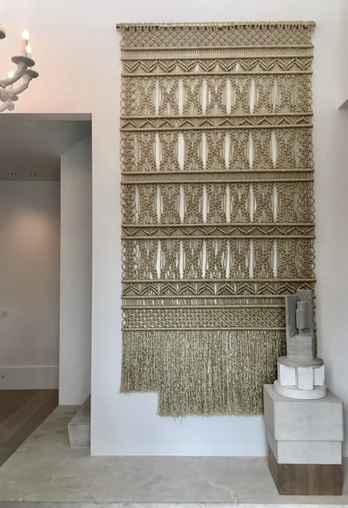 Macrame Wall Hanging by Milla Novo seen at Private Residence - Gold wallhanging 160cm x 230cm