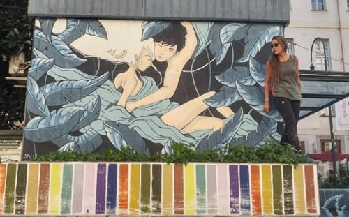 Street Murals by Stefania Gallina - MAPU Lab seen at Turin, Turin - Leaving - Commissioned Mural