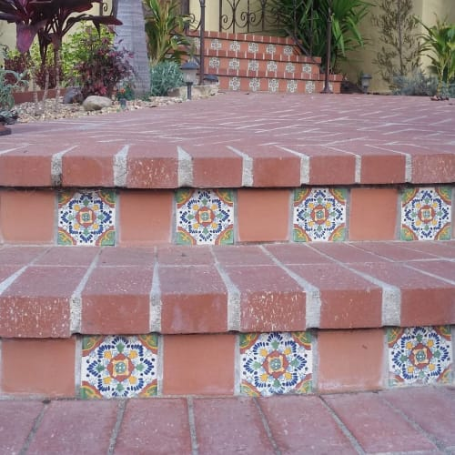 Tiles by Avente Tile seen at Private Residence, Los Angeles - Spanish Andalucia Hand Painted Ceramic Tile