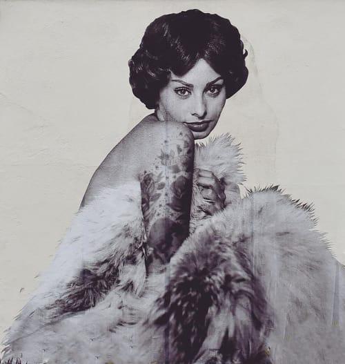Murals by Cheyenne Randall aka INDIANGIVER seen at Felix, Los Angeles - Sophia Loren II