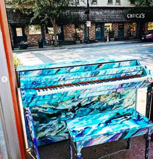 Public Sculptures by Monica Cohen seen at Highland Park, Des Moines - City Sounds Piano
