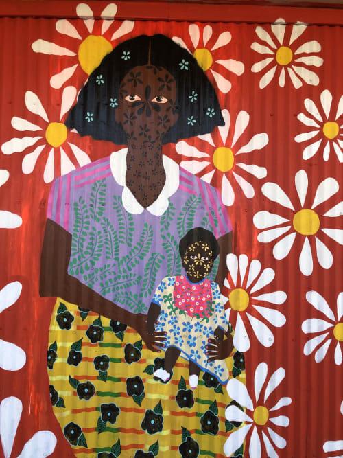 Murals by Jasmine Zelaya seen at Main Street Square, Houston - Tribute to Naomi Polk