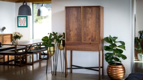 Furniture by Cruikshank Furniture seen at Private Residence, Queenstown - Walnut Drinks Cabinet