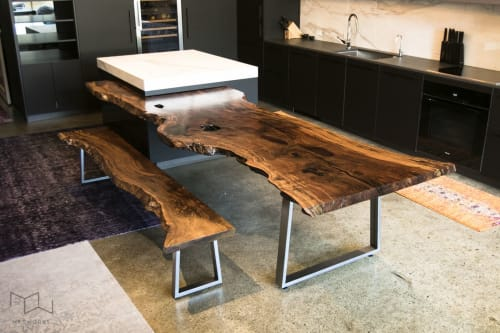 Tables by Mez Works Furniture seen at Private Residence, San Francisco - Live Edge Walnut Integrated Island Dining Table
