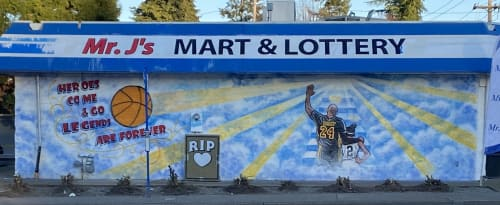 Murals by Jose Solis Creative Art Services seen at Mr J's Deli Mart, Portland - Kobe Bryant a hand painted Portland wall mural Tribute