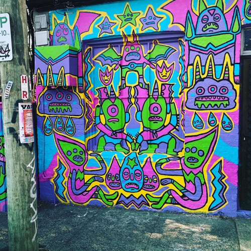 Murals by daisyattack! seen at Private Residence, Newtown - Monter Friends!