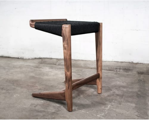 Chairs by Semigood Design seen at Private Residence, Seattle - Rian Cantilever Barstool, Walnut with Black Danish Cord