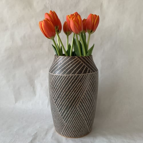Interior Design by Donna de Soto seen at Private Residence, Los Angeles - Large Vase with Weave Pattern
