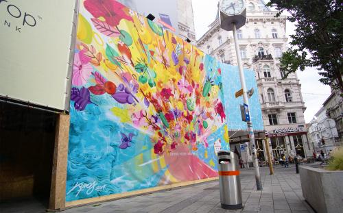 Street Murals by Kyros seen at Mariahilfer Straße, Wien - Waterdrop branding