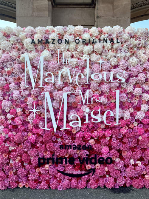 Plants & Flowers by B Floral: Event Design & Production seen at Green-Wood Cemetery, Brooklyn - The Marvelous Mrs. Maisel Flower Wall