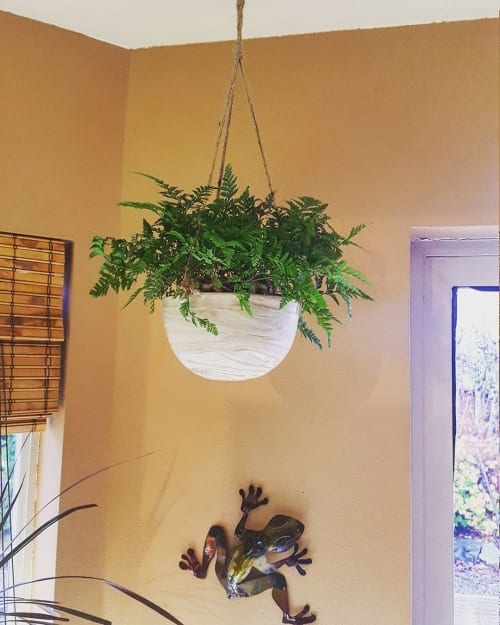 """Wall Hangings by S.S. Robinson Pottery seen at Private Residence, Marysville - """"Marbled Hanging Planters"""""""