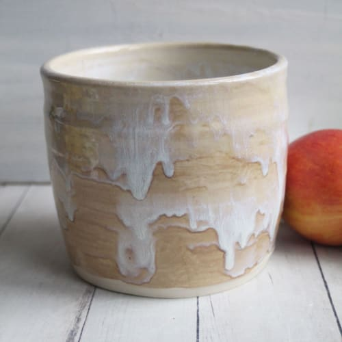 Tableware by Andover Pottery seen at Private Residence, Andover - Stoneware Utensil Holder in White and Ocher Glaze, Ceramic Kitchen Crock