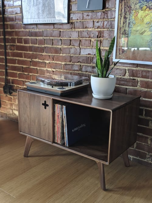 Furniture by Max Moody Design seen at Private Residence, Chattanooga - Record Player Stand Plus / Record Cabinet / Vinyl Storage
