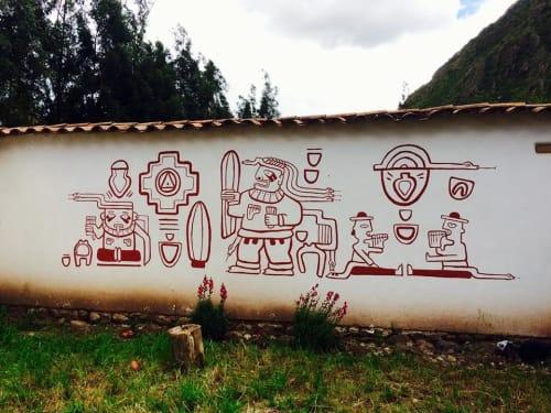 Murals by Arlette Beerenfenger seen at Urubamba, Urubamba - San Pedro, Inca Mural