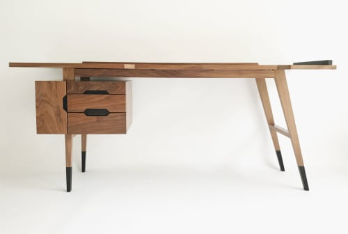 Furniture by Paul Iaquaniello seen at Private Residence - Mid-century inspired bespoke American Walnut & Bog Oak Desk