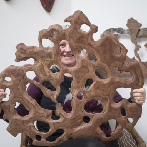 Sculptures by Liz McAuliffe seen at 30 Madden Residential Display Suite, Auckland - Kawakawa leaf sculptures
