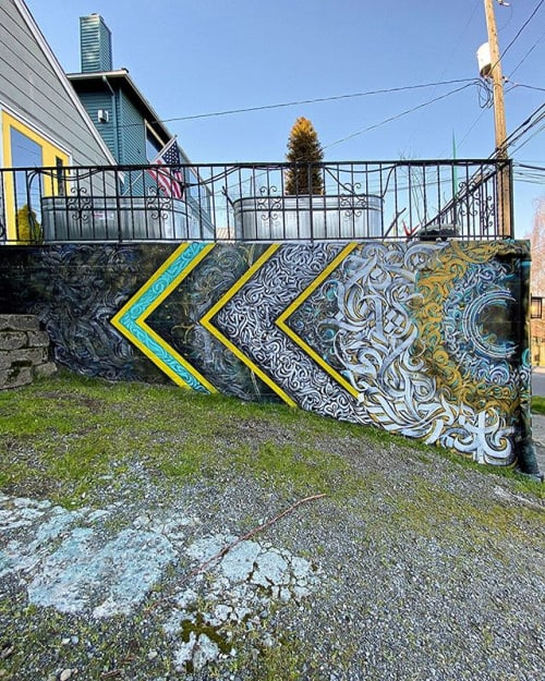 Murals by Leo Shallat seen at Capitol Hill, Seattle - Hill House Mural