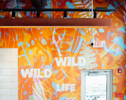 Murals by Tim Gough seen at 323 W Rte 70, Evesham Township - Wild Wild Life