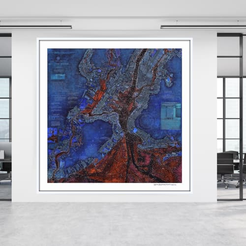 Art & Wall Decor by Seth B Minkin Fine Art seen at Seth B Minkin Studio + Showroom, Boston - New York Harbor Chart 2.0 | Limited Edition Print | Multiple Sizes Available