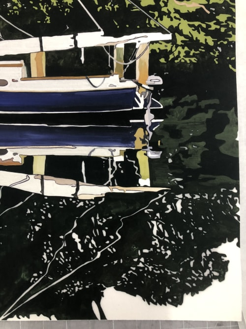 """Art & Wall Decor by Jeremy Wagner Studio seen at Private Residence - Untitled (Blue catboat) Limited Edition Print 48X40"""""""