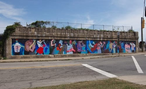 """Murals by Lynnea Holland-Weiss seen at East 34th Street & Broadway Avenue, Cleveland - """"Lovers Hustle, Slide and Dip"""" Anisfield-Wolf Mural"""
