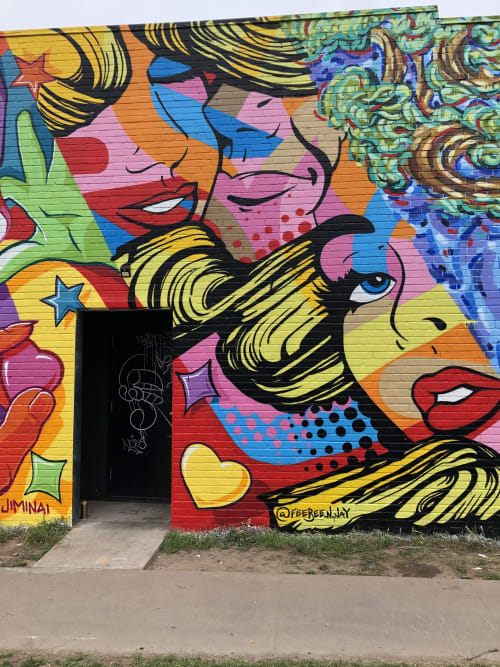 Murals by FeeBee Art seen at Native Hostel and Bar & Kitchen, Austin - Native Hostel SXSW 2019 Mural Campaign