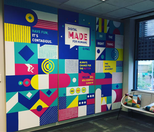 Murals by Avery Orendorf at PMG Advertising Agency, Fort Worth - PMG Mural