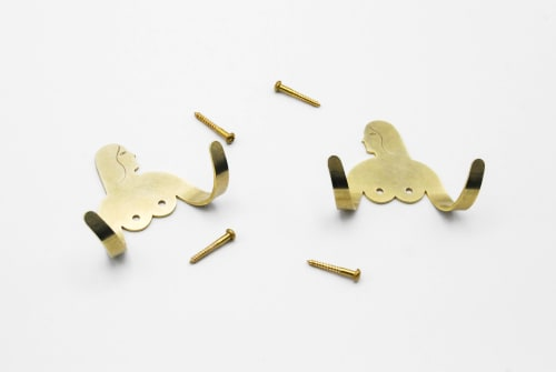 Art & Wall Decor by Kaye Blegvad seen at Private Residence, Brooklyn - Female Support System - Brass Hook Twins