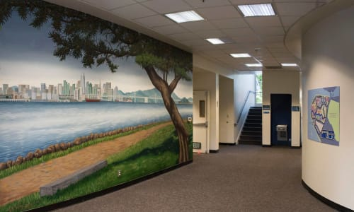 Murals by Arthur Koch seen at Harbor Bay Isle Homeowners, Alameda - Mural of San Francisco Skyline with Map of Harbor Bay Isle Neighborhood