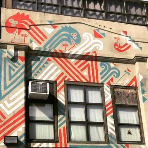 Street Murals by Poneros seen at Long Island City, Queens - Patriotic Serpent