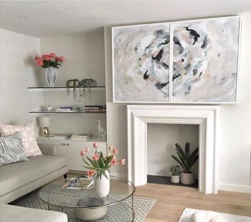 Paintings by Kristin Gaudio Endsley / Tin Tin's Pieces seen at Private Residence, London - Laura's Notting Hill Painting