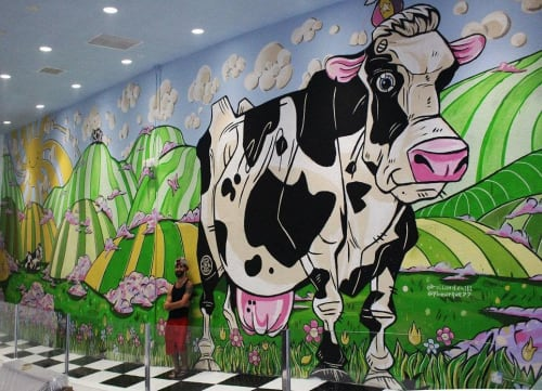 Murals by Phill Bourque seen at Chill Rollz, Los Angeles - Cow