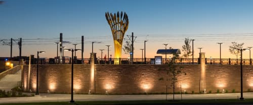 Public Sculptures by Curtis Pittman seen at Trainstation Circle, Lone Tree - Willow