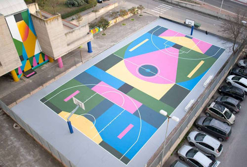 Street Murals by NicoSkolp seen at Via Ettore Maiorana, 90, Matera - Basketball Court design