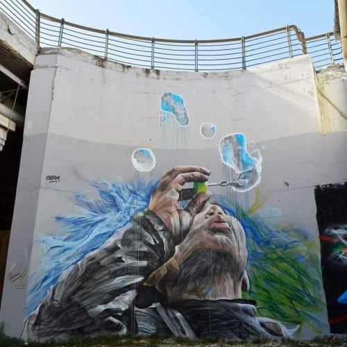 "Street Murals by GERA 1 seen at Larissa, Larissa - ""Hate Free"