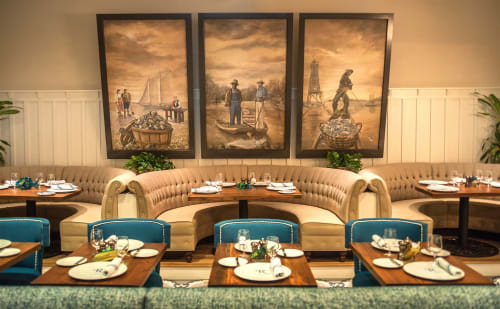 Murals by Grahame Ménage LLC seen at Renaissance at Colony Park, Ridgeland - Seafood R'evolution