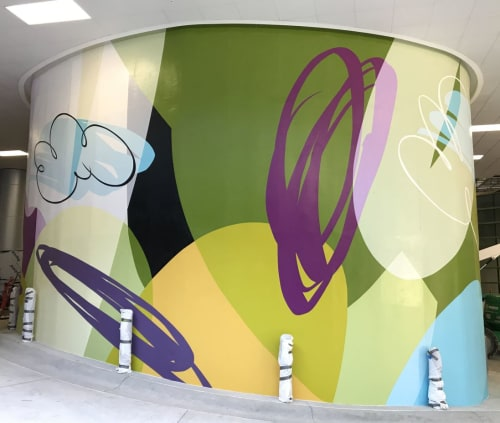 "Murals by Art Initiative, Inc. at Northside Hospital Cancer Institute Radiation Oncology - Atlanta, Atlanta - ""Synthesis"" Column Mural"