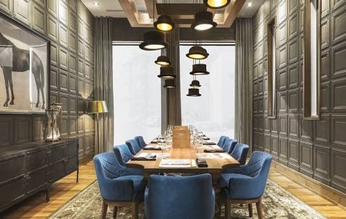 Pendants by Innermost seen at Chop Steakhouse & Bar, Calgary - Jeeves & Wooster