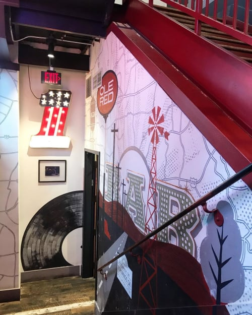 Murals by Lucie Rice Illustration and Design seen at Ole Red, Nashville - Ole Red Nashville Staircase Mural