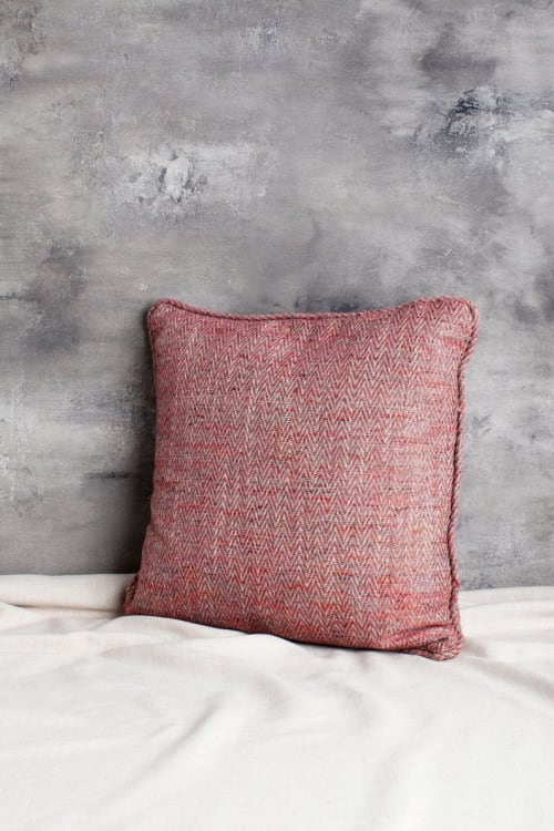 Pillows by Local Produce Design seen at Private Residence, Atlanta - Cranberry Herringbone Pillow