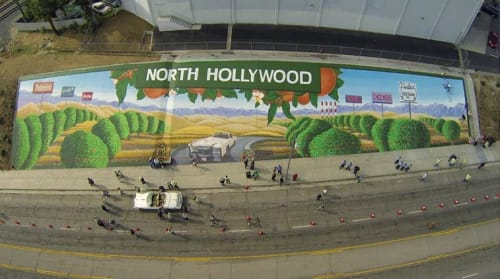 Street Murals by Levi Ponce seen at Saticoy Street & Whitsett Avenue, Los Angeles - Vintage North Hollywood Mural