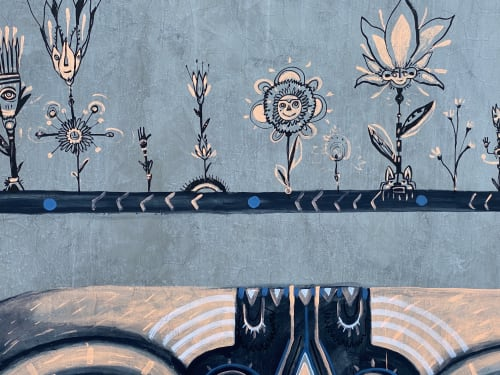 """Murals by Tellaeche seen at 405 Rose Ave, Los Angeles - """"My Garden"""""""