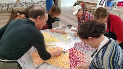 Public Mosaics by Carol Krentzman seen at First Congregational Church, Natick - Peace Dove