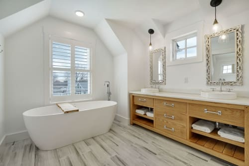 Furniture by Mako Woods seen at Private Residence, Point Pleasant Beach - Master bathroom vanity