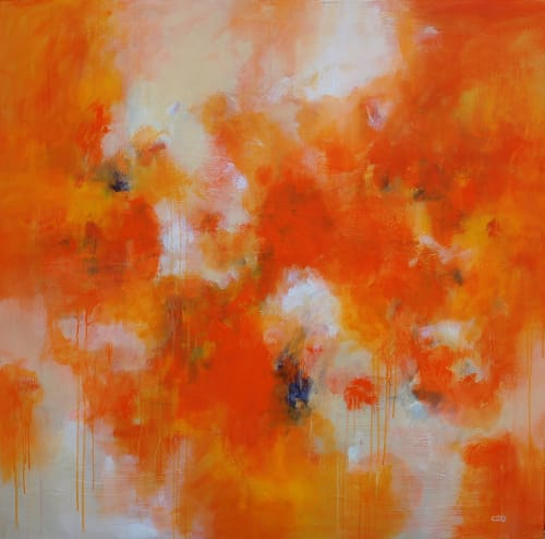 "Paintings by Christina Doelling, Abstract Artist seen at Private Residence, Alpharetta - ""Persimmons"" 
