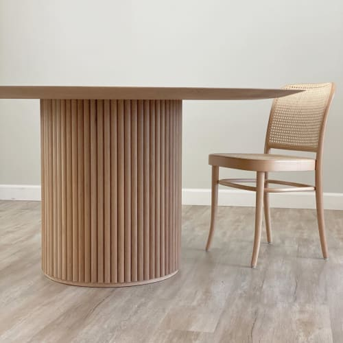 Solid White Oak Dining Table with Reeded Cylindrical Base   Tables by Angel City Woodshop