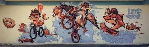 Murals by Illuminaries seen at Cesar Chavez Middle School, Union City - Let's Ride
