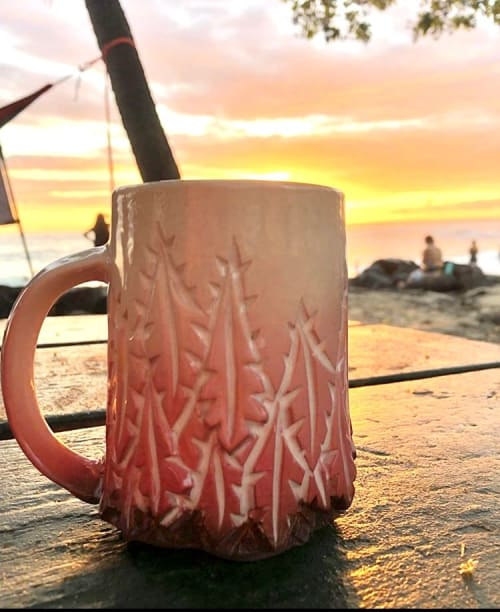 Cups by Dow Redcorn Ceramics seen at Private Residence, Kailua-Kona - Pink Carved Ceramic Mug