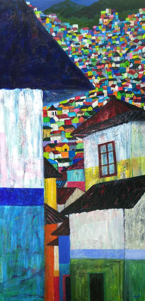 Modern Rooftops: Stacked Against All Odds | Paintings by Tina Alberni, Artist at Color by Design Studio